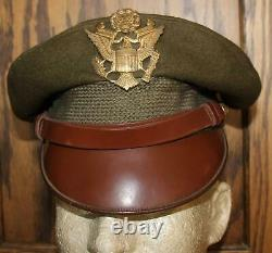 Ww II Us Army Air Force Officer's Large Hat Badge Soft Bill Crusher Wool Hat Cap