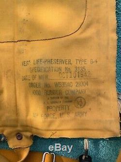 Ww2 Air Force Us Army Gilet De Sauvetage, Pilote De Sauvetage, Type B-4 N ° 3135 Ac-29297 1943
