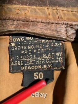 Ww2 Originale A-2 Vol Jacket Us Army Air Force Aero Beacon 50 Cuir De Cheval Rare