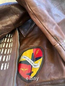 Ww2 Sgt Type Militaire A-2 Armée Air Force Flight Veste En Cuir 1942 42-18777 Htf