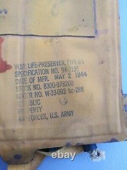 Ww2 Us Army Air Force B-4 May West Life Preserver Mfg Republic Mai 1944