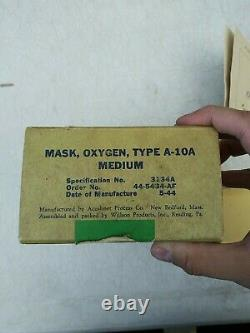 Ww2 Us Army Air Forces Acushnet A-10a Oxygen Masque Taille Moyenne Date 5/44