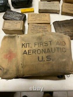 Ww2 Us Army Air Forces Trousse De Premiers Soins Aéronautiques Toile Avec Contenu
