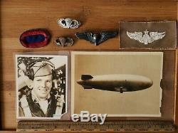 Ww2 Us Army Airforce Ballon 3 Pilot Wing Sterling Badge Parachute Pin Lot