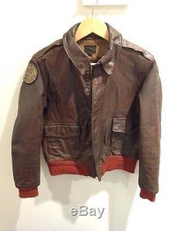 Wwii Original Vintage Pilot A-2 Jacket 36 Rare Usaaf Army Air Force Réparée