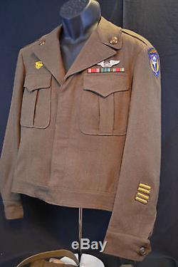 Wwii Us Army Air Force Transporteur De La Troupe Aéroportée Rare Ww2 Ike Jacket Uniform 1944