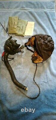 Wwii Us Army Air Force Type A-11 Leather Flying Helmet W O2 Masque Taille Moyenne