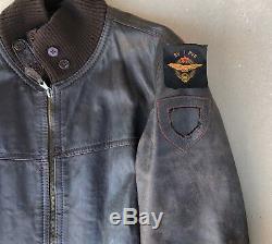 Yougoslavie Communiste Armée Jna Pilote Militaire Air Force 1980 Veste En Cuir Rare